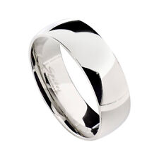 8mm Stainless Steel Silver Glossy Mirror Finish Unisex Wedding Band Ring sz 9-14