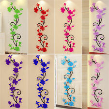 3D Acrylic Flower Removable Decal Vinyl Decor Mural Art Living Room Wall Sticker