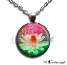 Handmade Glass Dome Bezel Pendant Necklace Flower Nature Spiritual Lotus Flower