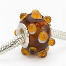 Glass Lampwork Bumpy Euro Style Large Hole Bead - Brown Amber Rootbeer 16mm (1)