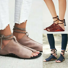Open Toe Sandals Womens Lady Summer Ankle Strap Flat PU Leather Shoes Size 5-9.5