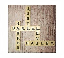 """Large Wood Scrabble Letter Tiles Wall Art Hanging Gallery , 3.5"""", Personalize"""