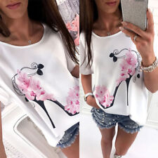 Summer Womens Short Sleeve Crew Neck Floral Casual Tops Loose T-Shirt Blouse CN