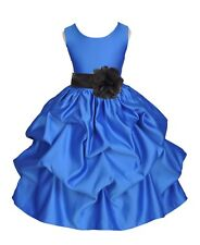 ROYAL BLUE WEDDING FLOWER GIRL PAGEANT DRESS PICK-UP GOWN PARTY SMALL 2 4 6 8 10