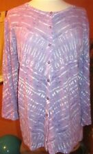 KATE HILL  NWT $108 women's sweater cardigan jacket purple white lavender