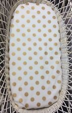 Bassinet Moses or Boori basket fitted sheets 100% cotton gold polka dots