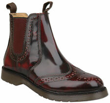 Mens Oxblood Leather Slip On Chelsea Ankle Brogue Boots UK Size 9 Air Sole