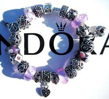 Authentic PANDORA 925 Sterling Silver Bracelet LAVENDER FIELDS with Charms AA11
