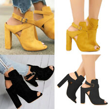 Women High Block Heel Peep Toe Ankle Strappy Sandals Buckle Pumps Shoes Size
