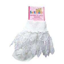 Baby Girls Beautiful White luxury lace trim sock by Soft touch