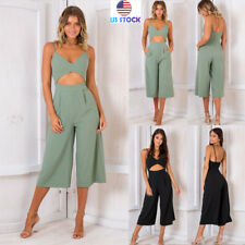 Womens Sexy Sling V-neck Sleeveless Jumpsuits Loose Wide Leg Pants Formal Romper