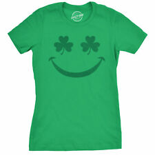 Womens Smiling Shamrock Tshirt Cute Funny St Patricks Day Parade Tee For Ladies