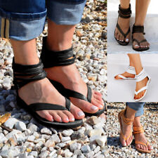 Women Gladiator Peep Toe Ankle Strap Sandals Summer Beach Flat Shoes Size 3-7.5