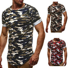 Mens Slim Fit O Neck Short Sleeve Muscle Tee Shirts Army Camouflage T-shirt Tops