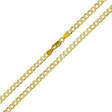 Solid 925 Sterling Silver GP 2 Toned DC Cuban 4.3mm Chain