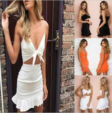 Women's Solid Strappy Hollow Out Bowtie Bralette Top Flounce Hem Mini Slip Dress