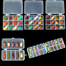 Assorted Fishing Lures Kit Spoon Metal Spinner Baits Bass Tackle Single Hook