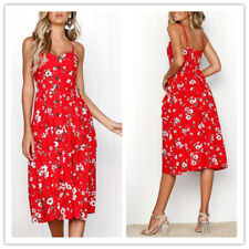 Women's Floral Strappy Low-cut Button Up Pleated Swing Pockets Midi Slip Dress