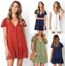 Women's Comfy Solid Shift V Neck Button Up Short Sleeve Pleated Mini Swing Dress