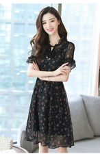 Women's Floral Print Tie-Bow Frilled O Neck Ruffled Sleeve Tunic Swing Dress