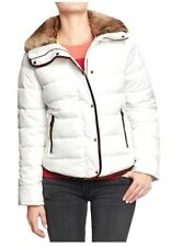 NWT WOMENS L OLD NAVY WHITE FROST FREE FAUX TRIM FUR PUFFER JACKET COAT