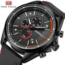 MINI FOCUS Men Chronograph Quartz Sports Watches Military Leather Strap Watch