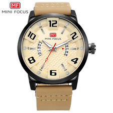MINI FOCUS Military Sports Watches Men Quartz Leather Strap Wristwatch with Date
