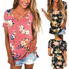 Womens Casual Summer Short Sleeve Print Crisscross V Neck Blouses Tops T-Shirt