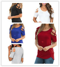 Women's Casual Solid Crewneck Hollow Out Short Sleeve Curve Hem Top Tee Shirt