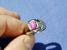 10K White Gold Synthetic Star Ruby Gemstone Ring Sz 8.25 Vtg Fine Estate Jewelry