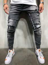 Ripped&Repaired Jeans Streetwear Distressed Patched Knees Slim Fit Ring 3912