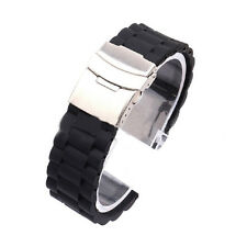 Mens Silicone Rubber Watch Strap Band Waterproof Deployment Clasp Hottest Black