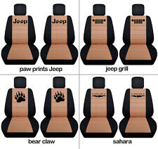 Fit JK wrangler  front car seat covers black-tan w/ jeep grill, sahara,punisher