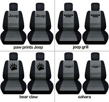Fit JK wrangler  front car seat covers blk-charcoal w/ bear claw,jeep grill...