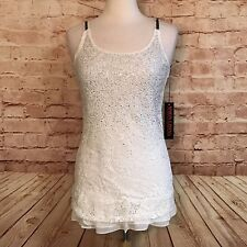 Simon Chang Womens White Lace Overlay Sleeveless Tunic Top Studded Bling Lined