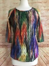 Simon Chang Womens Blue Green Purple Yellow 3/4 Sleeve Top Lace Overlay Blouse