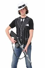 Mens Gangster T Shirt Machine Gun 90cm White Hat Complete Costume Fancy Outfit