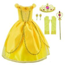 Princess Belle Costume Deluxe Party Fancy Dress Up For Girls with...