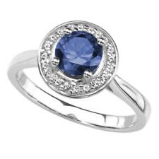 Lab Created Blue Sapphire Ring in Rhodium Plated Sterling Silver - White Halo