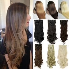 100% Real Natural Full Head Clip in Hair Extensions 18clips on Straight Wavy bx