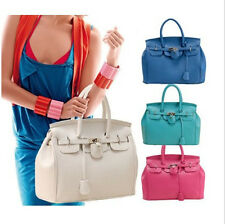 Women's Celebrity PU Leather Tote Handbag Lock Shoulder Designer Satchel bag JB