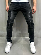 Distressed Jeans Streetwear Patched Cargo Jeans Black Casual Skinny Fit 4056