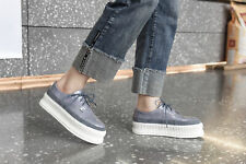 Womens Suede Leather Spliced Round Toe Wedge Heels Creepers Lace Up Casual Shoes