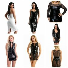 Women's Fashion Sexy Wet Look Faux Leather Bodycon Clubwear Mini Short Dress