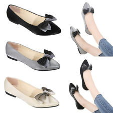 Ladies Faux Suede Bow-Knot Flat Boat Shoes Women Pointed Toe Comfort Dolly Pumps