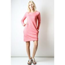 French Terry Sweatshirt Dress New S M L Front Pockets Heather Pink