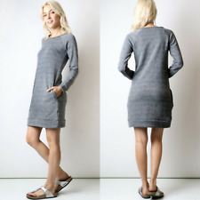 French Terry Sweatshirt Dress New S M L Front Pockets Heather Black