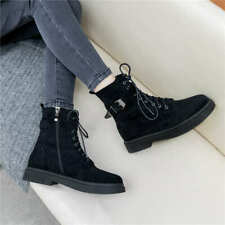 Womens Warm Buckle Strap Martin Boots Casual Platform Flat Ankle Boots Lace Up