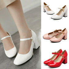 Women Elegant Block Mid Heel Ankle Strap Mary Jane Shoes Square Toe Dress Pumps