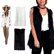 Women Ladies Faux Fur Shaggy Vest Sleeveless Outerwear Long Waistcoat